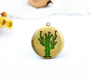 Cute Cactus With Floral Charm Locket Necklace