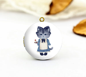 Cute Cat Maid Charm Locket Necklace