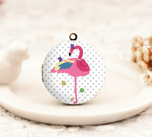 1pcs Cute Flamingo With Butterfly Charm Locket Necklace, Antique Bronze Brass Flamingo Pendant 32mm 25mm 20mm Locket - HLK173Q