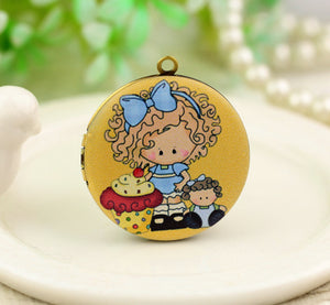 Cute Girl With Cupcake and doll Charm Locket Necklace