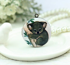 Cute Koala on Branch Charm Locket Necklace