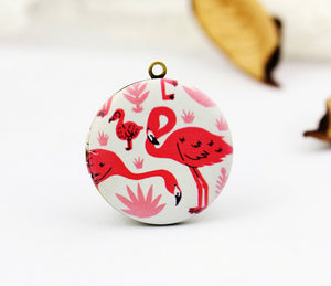 Cute Pink Flamingo Charm Locket Necklace