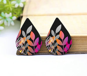 Cute Rainbow Leaf Leather Teardrop Earring Charm Supplies