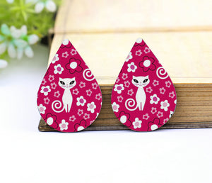Cute White Cat Leather Teardrop Earring Charm Supplies