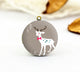 Cute White Reindeer Bow Charm Locket Necklace