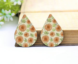 Daisy Leather Teardrop Earring Charm Supplies