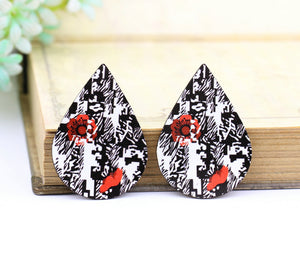 Flower Leopard Leather Earring Teardrop Charm Supplies