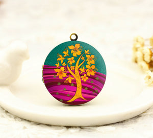 Gold Tree of Life Charm Locket Necklace