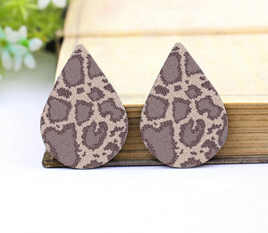 Gray Leopard Print Leather Teardrop Earring Charm Supplies