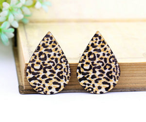 Leopard Print Leather Earring Teardrop Charm Supplies