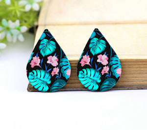 Monstera Leaf Pink Floral Leather Teardrop Earring Charm Supplies