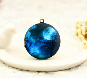 Moon Night Forest Charm Locket Necklace