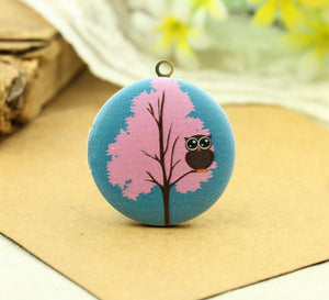 Owl on Pink Tree Charm Locket Necklace