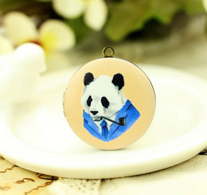 Panda Human Art Charm Locket Necklace