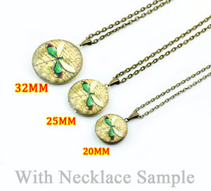 Round Photo Locket Necklace Sample, 32mm, 25mm, 20mm