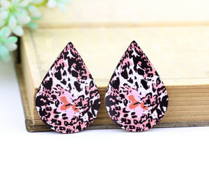 Pink Black Leopard Leather Earring Teardrop Charm Supplies