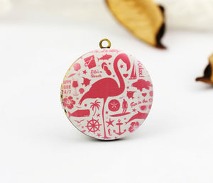 Pink Flamingo Charm Locket Necklace