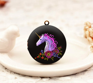 Pink Unicorn Floral Charm Locket Necklac