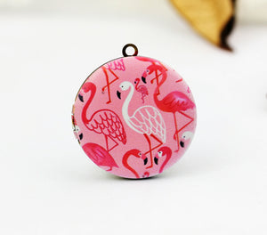 Pink and White Flamingo Charm Locket Necklace