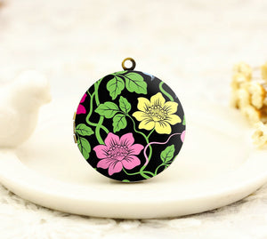 Pink and Yellow Flowers Charm Locket Necklace