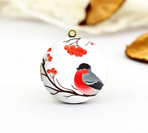 Red Fruit Bird on Branch Charm Locket Necklace