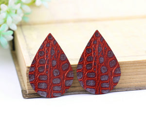 Red Texture Leather Earring Teardrop Charm Supplies