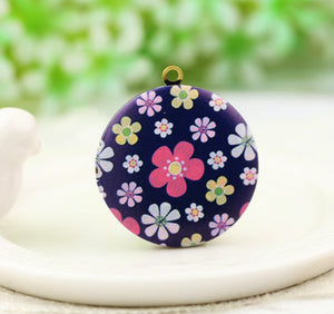Small Colored Floral Charm Locket Necklace