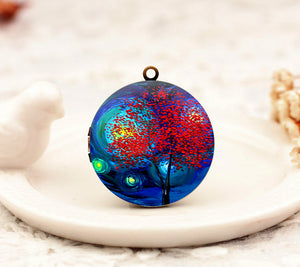 Starry Night Tree Charm Locket Necklace