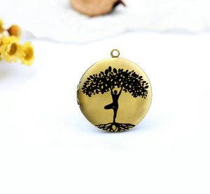 Tree of life Silhouette Charm Locket Necklace