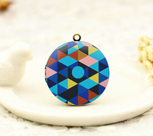 Triangle Geometric Charm Locket Necklace