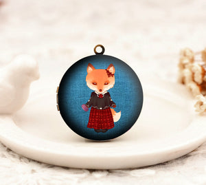 Victorian Fox Lady Charm Locket Necklace