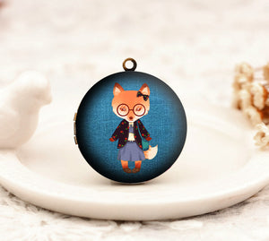 Victorian Glasses Fox Girl Charm Locket Necklace