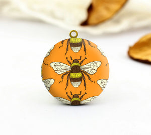 Vintage Bee Charm Locket Necklace