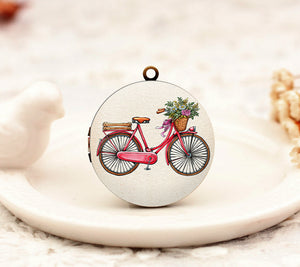 Vintage Bicycle Floral Charm Locket Necklace