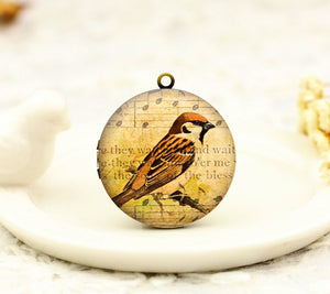 Vintage Bird Musical note Charm Locket Necklace