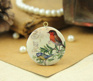 Vintage Birds on Branch Locket Charms Necklace