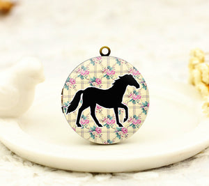 Vintage Black Horse Floral Charm Locket Necklace