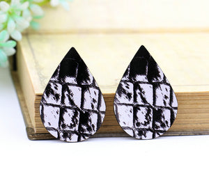 Vintage Black White Leather Earring Teardrop Charm Supplies