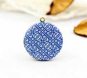 Vintage Blue Mosaic Charm Locket Necklace