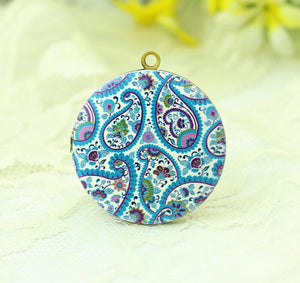 1pcs Vintage Blue Paisley Charm Locket Necklace, Antique Bronze Brass Paisley Pendant 32mm 25mm 20mm Locket - HLK134B