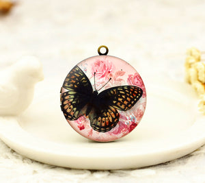 Vintage Butterfly Pink Floral Charm Locket Necklace
