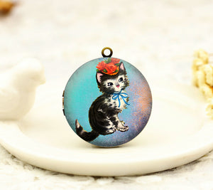 Vintage Cat Floral Charm Locket Necklace