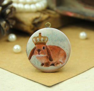 Vintage Crown Rabbit Charm Locket Necklace