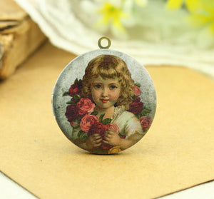 Vintage Rose Girl Charm Locket Necklace