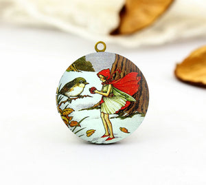 Vintage Fairy and Bird Charm Locket Necklace