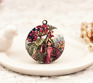 Vintage Pink Flower Fairy Charm Locket Necklace