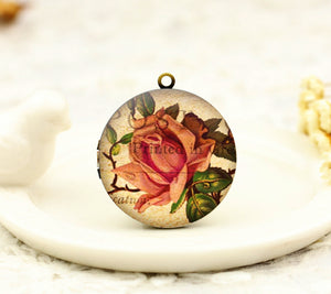 Vintage Pink Rose Charm Locket Necklace