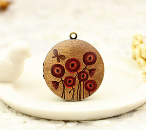 Vintage Poppies Butterfly Charm Locket Necklace
