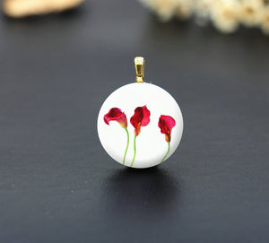 Vintage Red Calla lily Ceramic Porcelain Charm Cabochons