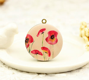 Vintage Red Floral Charm Locket Necklace